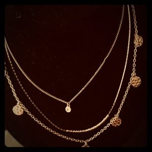 Jewelry - Gold tone triplicate necklace